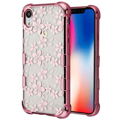 AMZER® TUFFEN Candy TPU Skin Cover -Rose Gold & Hibiscus for iPhone Xr