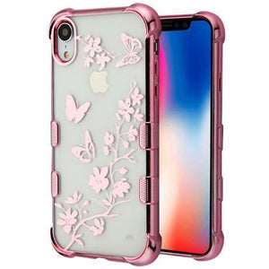 AMZER® TUFFEN Candy TPU Skin Cover -Rose Gold & Butterflies for iPhone Xr