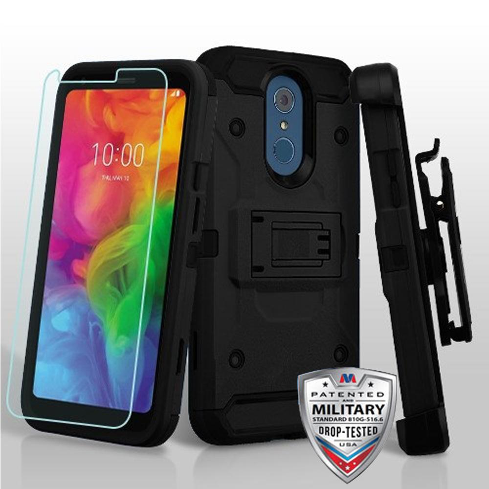 AMZER 3in1 Ballistic Hybrid Protector Cover Combo With Tempered Glass - Black/Black for LG Q7