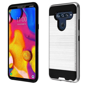 AMZER Brushed Hybrid Protector Cover - Silver/Black for LG V40 ThinQ