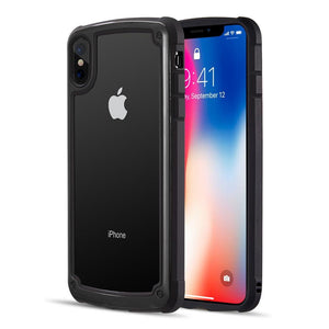 AMZER® Ultra Protective Hybrid Case With Tempered Glass Back - Black for iPhone Xs Max