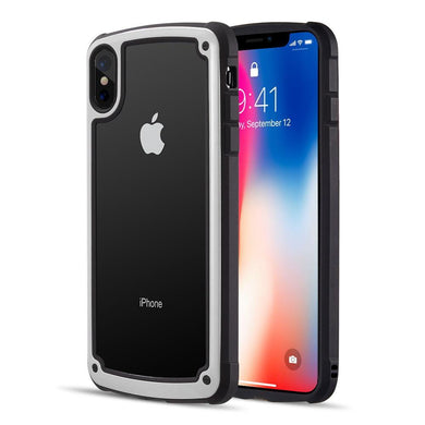 AMZER® Ultra Protective Hybrid Case With Tempered Glass Back - White for iPhone Xs Max