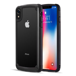 AMZER® Ultra Protective Hybrid Case With Tempered Glass Back - Black for iPhone Xr