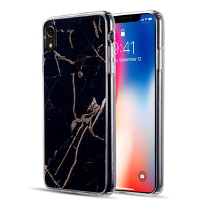 AMZER® Sparkling Marble IMD Soft TPU Protective Case - Black for iPhone Xr