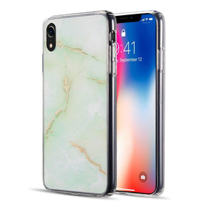 AMZER® Sparkling Marble IMD Soft TPU Protective Case - Green for iPhone Xr