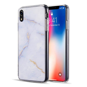 AMZER® Sparkling Marble IMD Soft TPU Protective Case - Purple for iPhone Xr