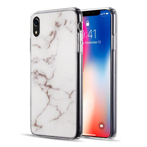 AMZER® Sparkling Marble IMD Soft TPU Protective Case - White for iPhone Xr