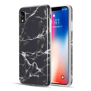 AMZER® Marble IMD Soft TPU Protective Case - Black for iPhone Xr
