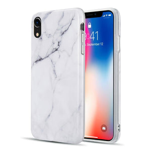 AMZER® Marble IMD Soft TPU Protective Case - White for iPhone Xr