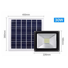 Load image into Gallery viewer, AMZER 30W IP65 Waterproof Solar Flood Light, 54 LEDs Smart Light with Solar Panel & Remote Control