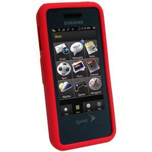 AMZER Silicone Skin Jelly Case for Samsung Instinct SPH-M800 - Maroon Red