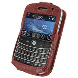 AMZER Crocodile Pattern Sleeve Leather Case - Red for BlackBerry Bold