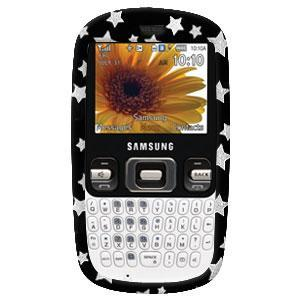AMZER Black on Silver Stars Snap On Crystal Hard Case for Samsung Freeform R350