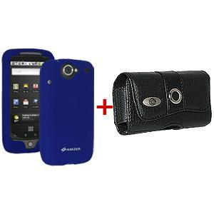 AMZER Silicone Jelly Case & Leather Pouch for Google Nexus One PB99100 - Blue