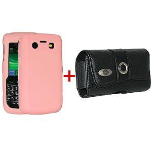 AMZER Silicone Jelly Case & Leather Pouch for BlackBerry Bold 9700 Baby Pink