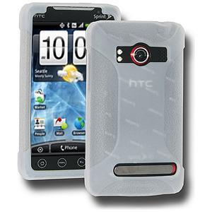 AMZER® Silicone Skin Jelly Case - Transparent White for HTC EVO 4G