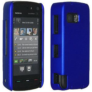 Amzer Simple Click On Case with Screen Protector - Rubberized Blue for Nokia XpressMusic 5800