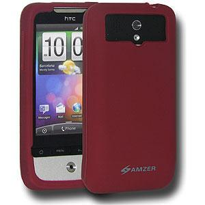 AMZER Silicone Skin Jelly Case for HTC Legend - Maroon Red