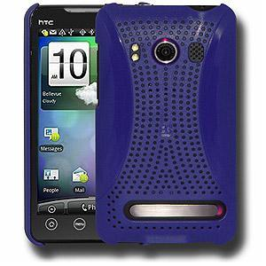 AMZER® Simple Click On Case with Screen Protector - Rubberized Blue for HTC EVO 4G