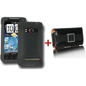 AMZER® Smoke Grey Silicone Skin Jelly Case & Leather Pouch Combo for HTC EVO 4G