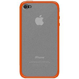 AMZER SlimGrip Hybrid Case - Cloudy/ Orange for iPhone 4