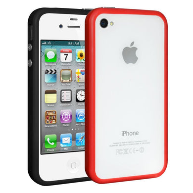 AMZER TPU Signal Booster Wrap Around Case Set of Two - Black/ Red for iPhone 4