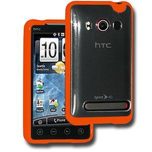 AMZER® TPU Hybrid Case - Orange for HTC EVO 4G