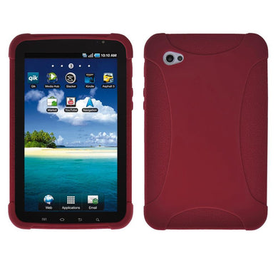 AMZER Silicone Skin Jelly Case for Samsung GALAXY Tab GT-P1000 - Maroon Red