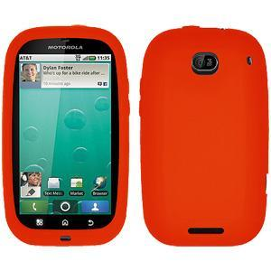 AMZER® Silicone Skin Jelly Case - Orange for Motorola BRAVO MB520