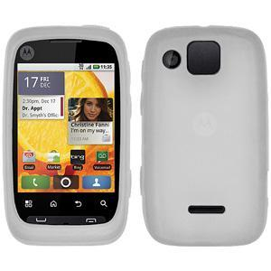 AMZER® Silicone Skin Jelly Case - Transparent White for Motorola CITRUS WX445