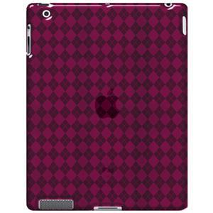 AMZER Luxe Argyle High Gloss TPU Soft Gel Skin Case - Hot Pink for iPad 2