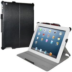 AMZER Shell Portfolio Case - Black Carbon Fiber Texture for iPad 2