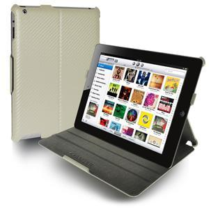 AMZER Shell Portfolio Case - White Carbon Fiber Texture for iPad 2