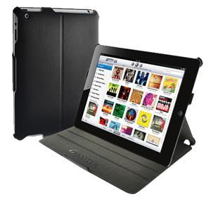 AMZER Shell Portfolio Case - Black Leather Texture for iPad 2