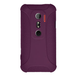 AMZER Shockproof Rugged Silicone Skin Jelly Case for HTC EVO 3D - Purple