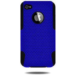 Amzer Silicone-Perforated PolyCarbonate Hybrid Case - Black & Blue for iPhone 4S, iPhone 4