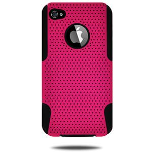 Amzer Silicone-Perforated PolyCarbonate Hybrid Case - Black & Hot Pink for iPhone 4S, iPhone 4