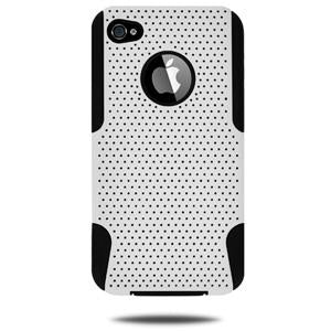 Amzer Silicone-Perforated PolyCarbonate Hybrid Case - Black & White for iPhone 4S, iPhone 4
