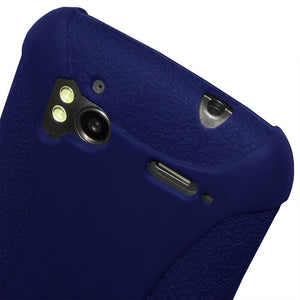 AMZER Shockproof Rugged Silicone Skin Jelly Case for HTC Sensation 4G - Blue