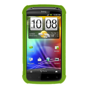 AMZER Shockproof Rugged Silicone Skin Jelly Case for HTC Sensation 4G - Green