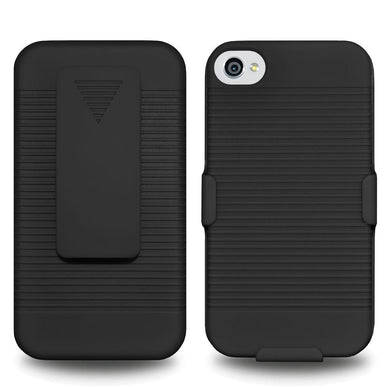 AMZER Shellster Hard Case with Belt Clip Holster for iPhone 4 - Black