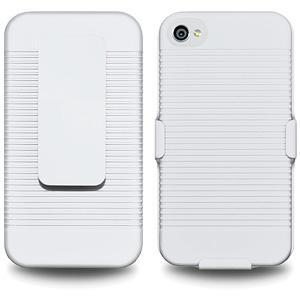 AMZER Shellster Hard Case with Belt Clip Holster for iPhone 4 - White
