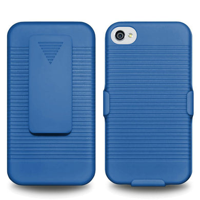 AMZER Shellster Hard Case with Belt Clip Holster for iPhone 4 - Blue