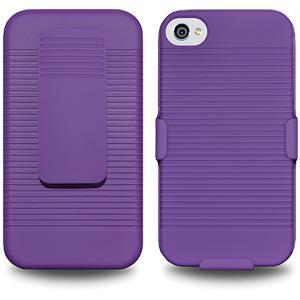 AMZER Shellster Hard Case with Belt Clip Holster for iPhone 4 - Purple