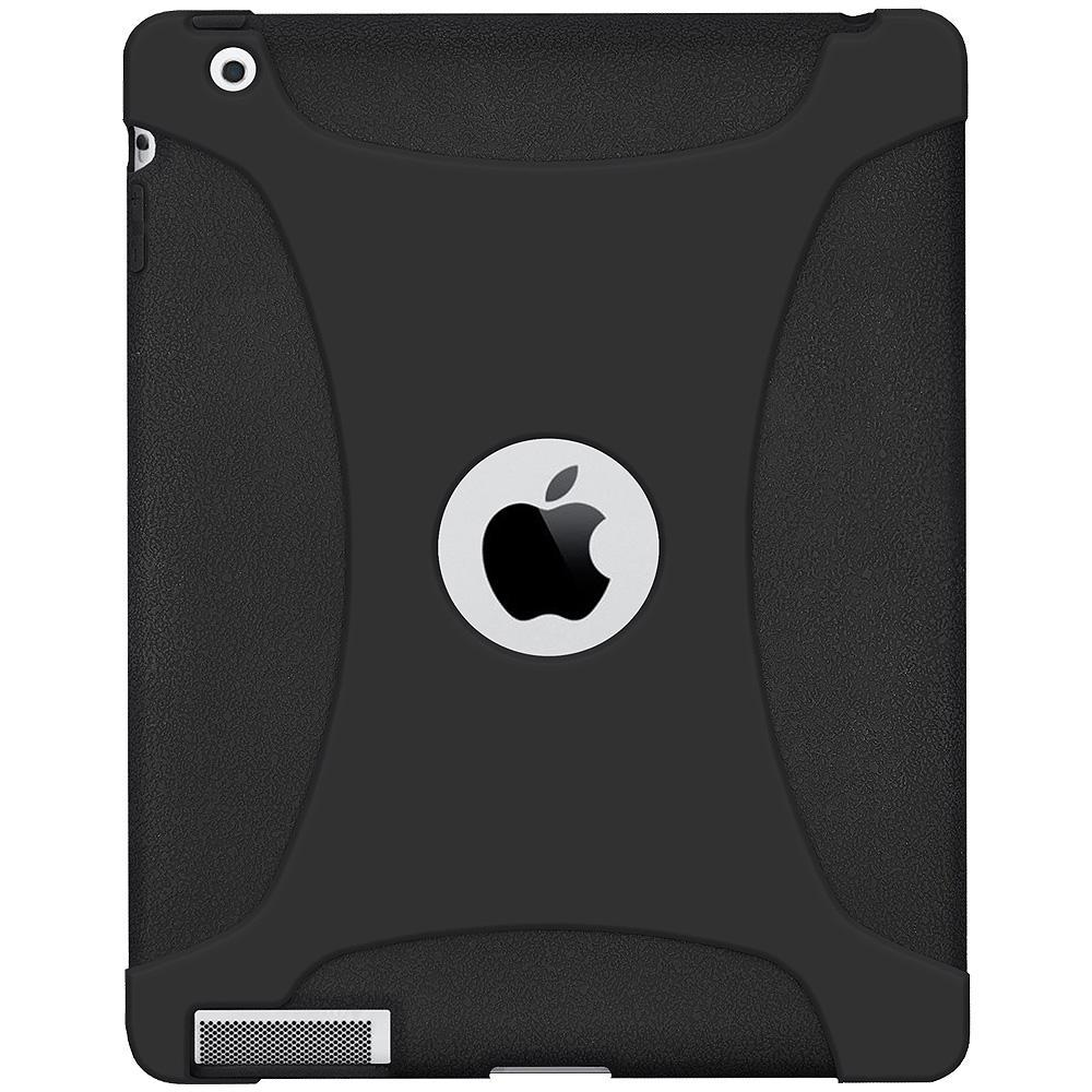 AMZER Shockproof Rugged Silicone Skin Jelly Case for iPad 3 - Black