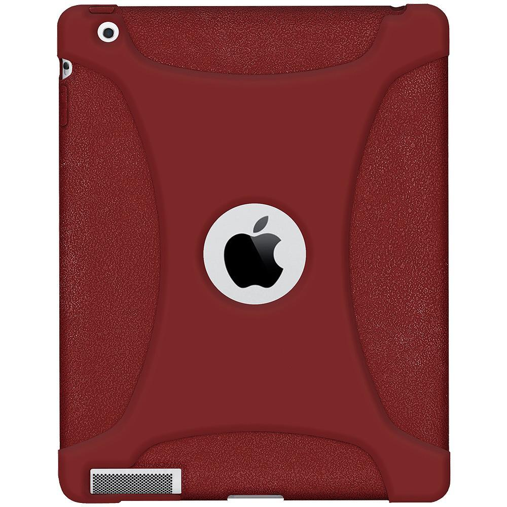 AMZER Shockproof Rugged Silicone Skin Jelly Case for iPad 3 - Maroon Red