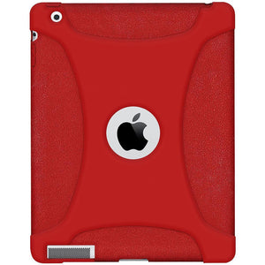 AMZER Shockproof Rugged Silicone Skin Jelly Case for iPad 3 - Tomato Red