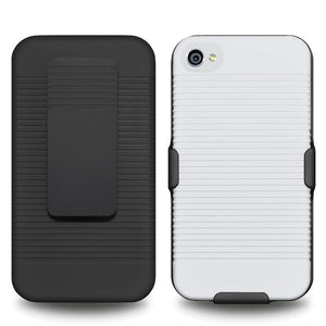 AMZER Shellster Hard Case with Belt Clip Holster for iPhone 4 - Black/White