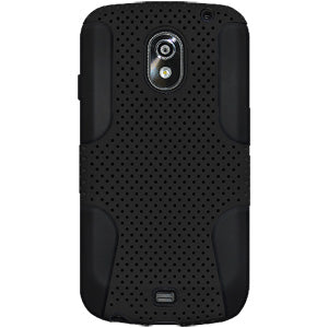 AMZER Silicone-Perforated PolyCarbonate Hybrid Case - Black/ Black