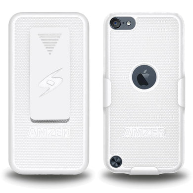 AMZER Shellster Hard Case with Belt Clip Holster for iPod Touch 5th Gen - White